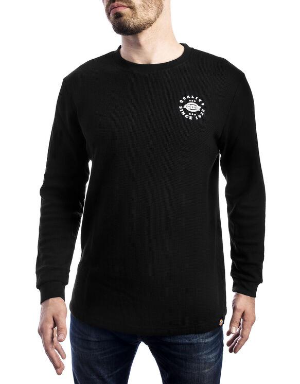 Men's Graphic Long Sleeve Waffle Dickie's Shirt - BLACK (BK)