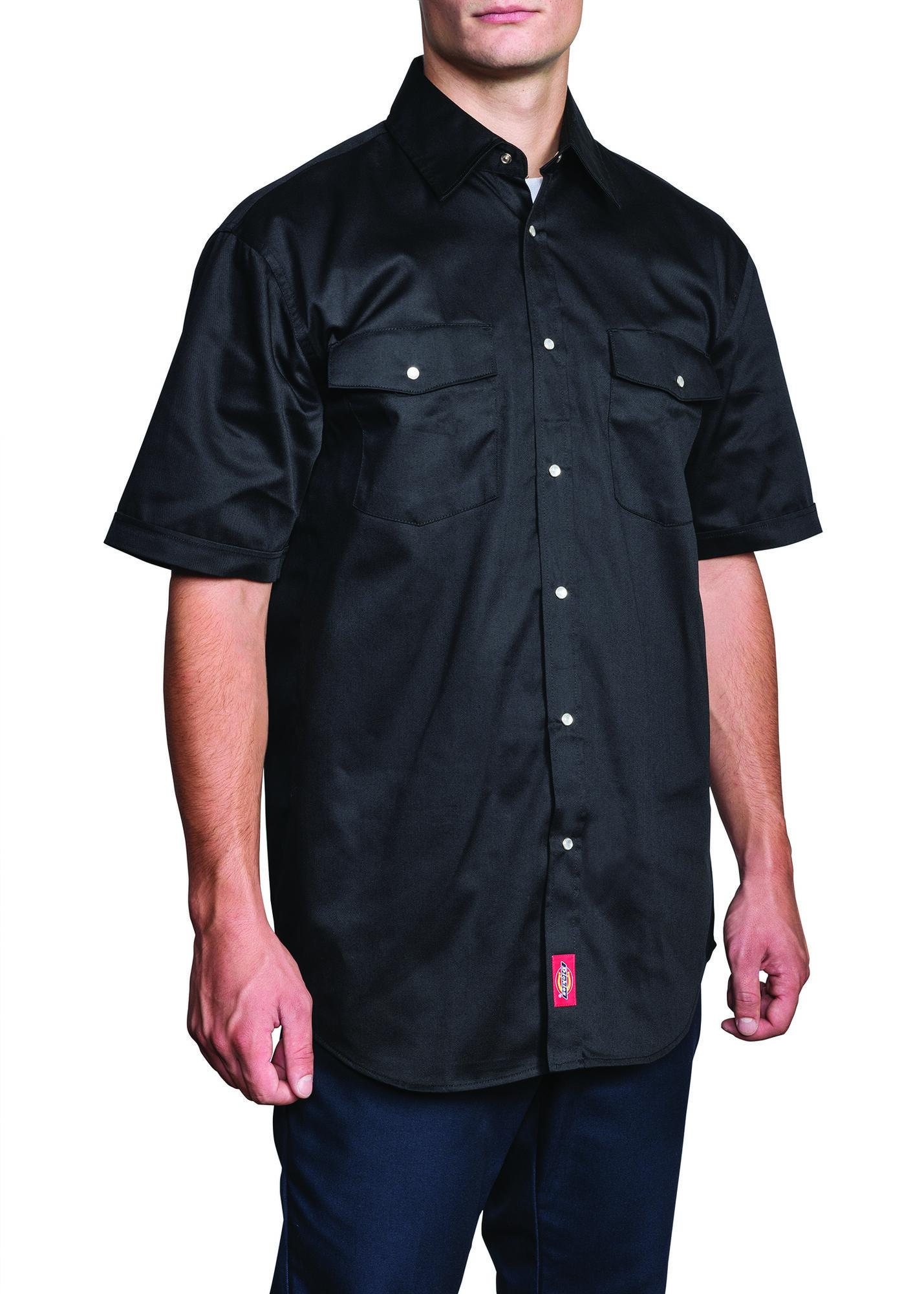 Short sleeve snap front work shirt dickies for Mens denim work shirt
