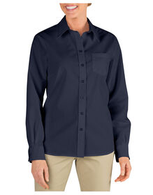Women's Long Sleeve Stretch Poplin Shirt - DARK NAVY (DN)