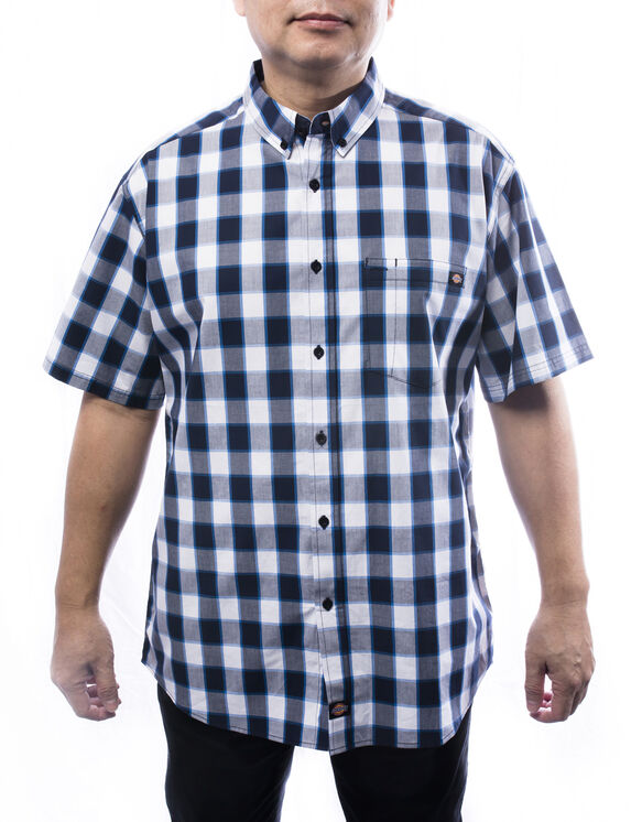 Men's Short Sleeves Plaid Shirt - BLUE (BL9)