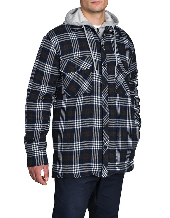 Quilted Faux Fleece Jacket - CANADA PLAID YELLOW/DARK NAVY (N44)
