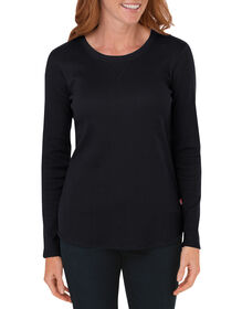 Women's Long Sleeve Thermal Tee - BLACK (BK)
