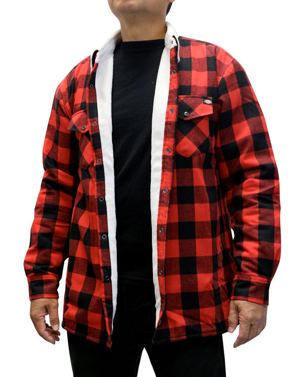 Men's Lined Flannel Long Sleeve Woven Shirt - BLACK/ENGLISH RED (BKER)