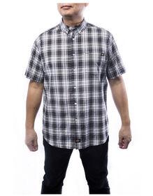 Chemise carreaux manches courtes homme pour la fin semaine - Charbon (CH)