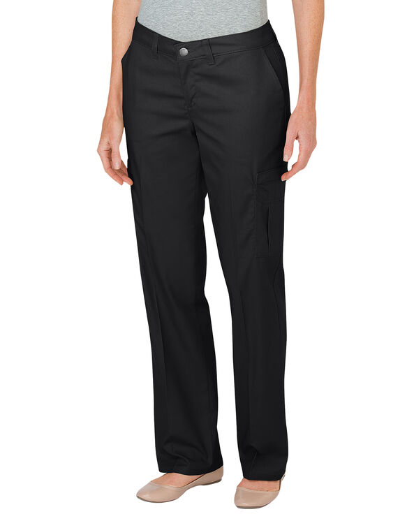 Women's Premium Relaxed Straight Cargo Pants - BLACK (BK)