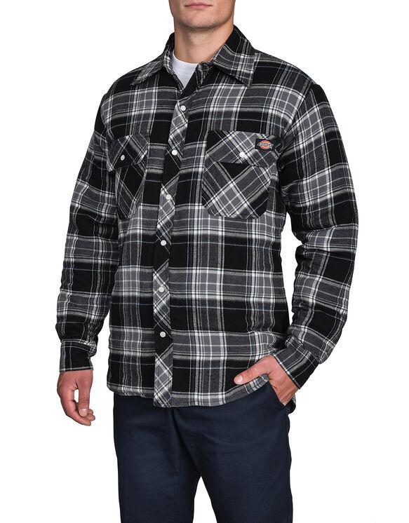 Chemise piquée à boutons-pression et motif tartan - Noir (B42)
