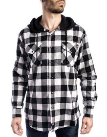 Men's Flannel Long Sleeve Woven Shirt with Hood - BLACK/WHITE (BKWH)
