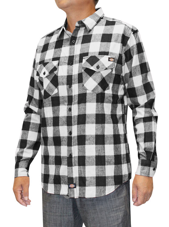 Men's Flannel Long Sleeve Woven Plaid Shirt - BLACK/WHITE (BKWH)