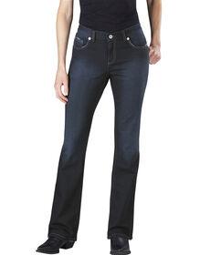 Jeans en denim pour femmes, coupe ajustée, jambe semi-évasée - Antique Dark (ATD1)