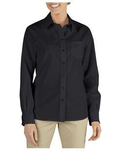 Women's Long Sleeve Stretch Poplin Shirt - Black (BK)