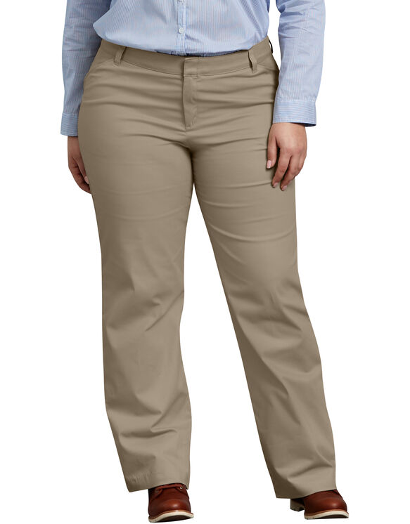 Pantalon cargo décontracté à jambe droite en sergé extensible pour femmes (Tailles plus) - Desert Khaki (DS)
