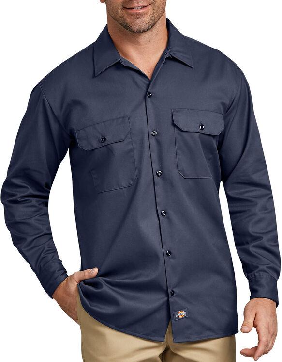 Chemise a manches longues chemise de travail devant solides - Navy Blue (NV)