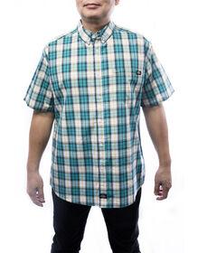 Chemise à manches courtes à motif tartan pour hommes - Bleu sarcelle (TL)
