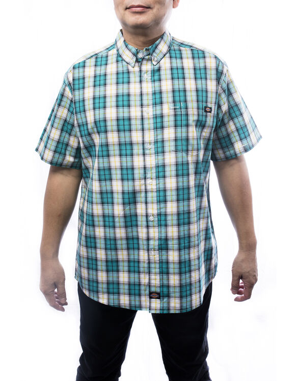 Men's short sleeve plaid shirt - TEAL (TL)