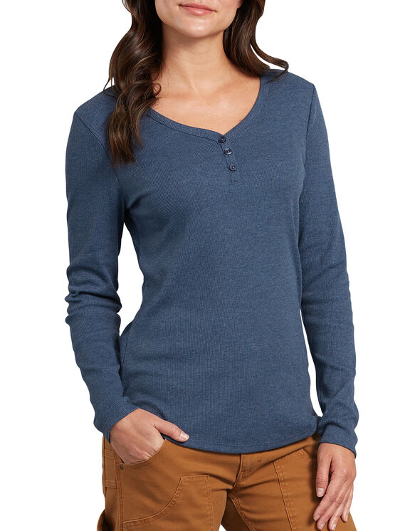 Women's Long Sleeve Henley Shirt - Dark Denim Blue (DMD)