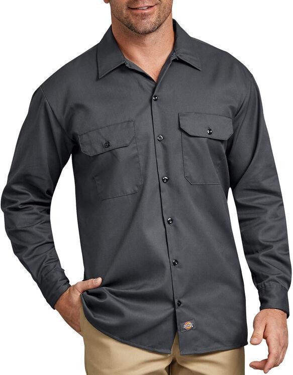 Chemise a manches longues chemise de travail devant solides - Charcoal Gray (CH)