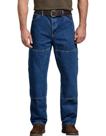 Relaxed Fit Double Knee Carpenter Denim Jeans - Stonewashed Indigo Blue (SNB)