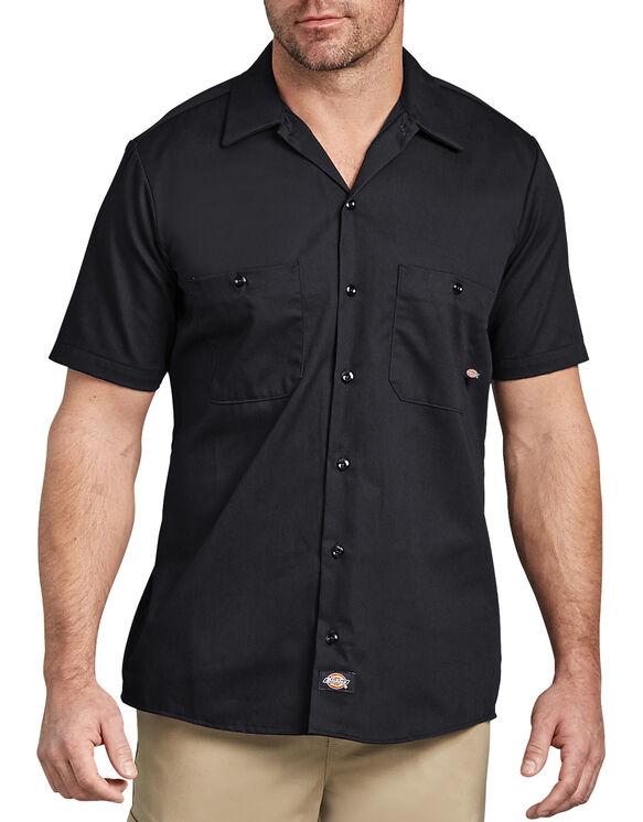 Short Sleeve Industrial Cotton Work Shirt - BLACK (BK)