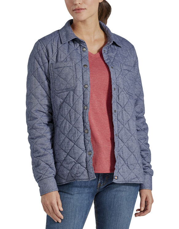 Women's Quilted Shirt Jacket - Blue Two Tone Herringbone (LTH)