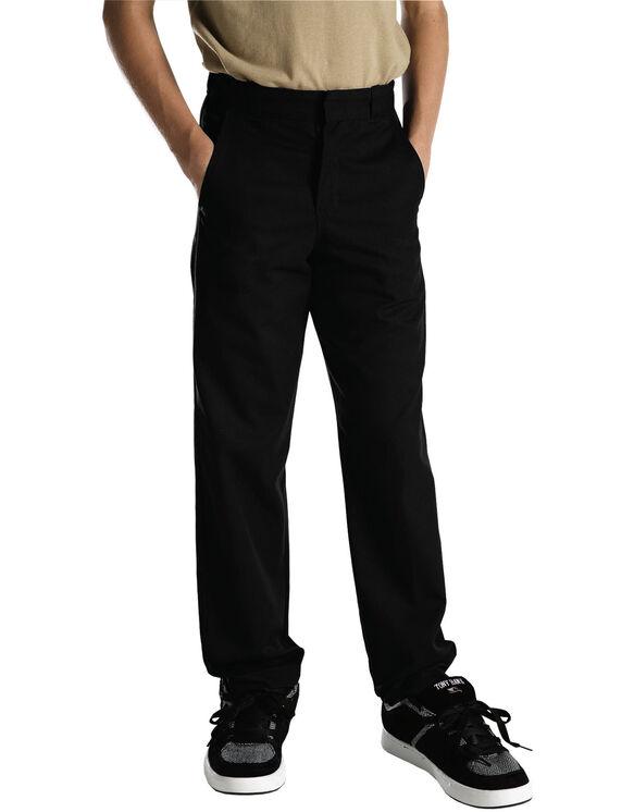 Pantalon sans plis à jambe droite, coupe classique, taille adulte - Noir (BK)
