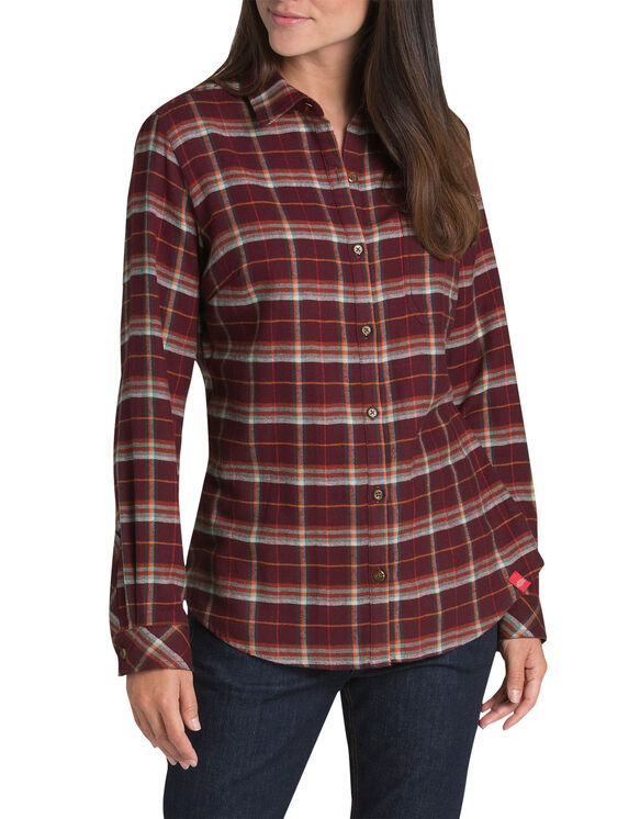 Women's Long Sleeve Plaid Flannel Shirt - Gray Burgundy Plaid (YYP)