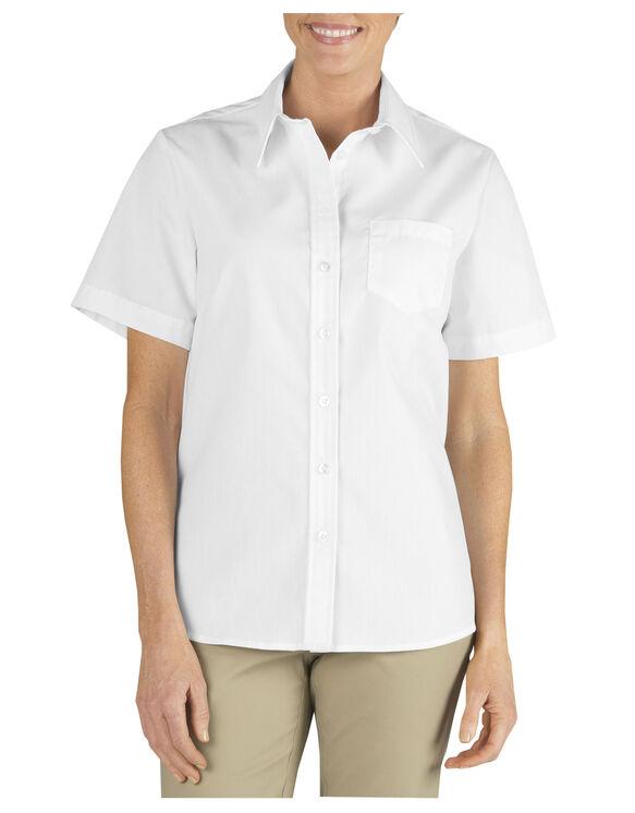 Women's Stretch Poplin Short Sleeve Shirt - White (WH)