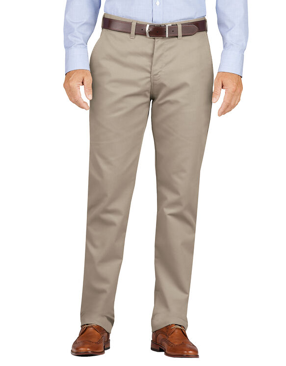 Slim Fit Tapered Leg Flat Front Khaki Pants - Desert Khaki (RDS)