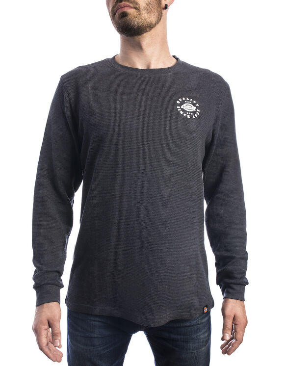 Men's Graphic Long Sleeve Waffle Dickie's Shirt - Charcoal Gray (CH)