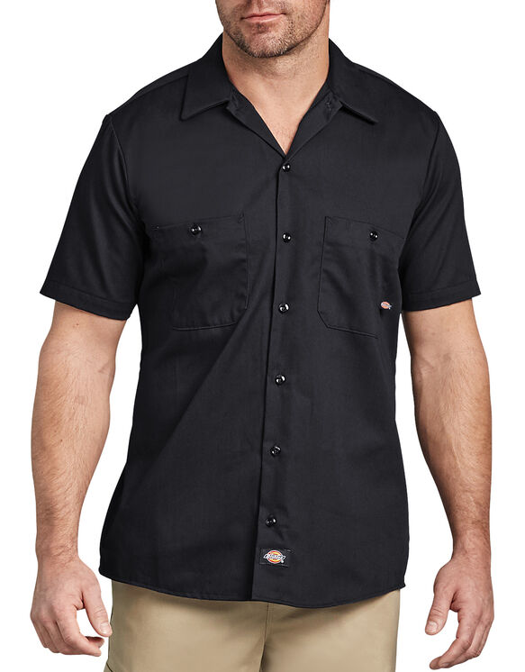 Short Sleeve Industrial Cotton Work Shirt - Black (BK)