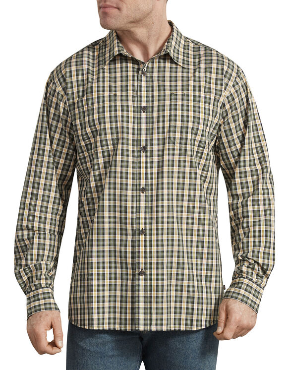 Relaxed Fit Icon Long Sleeve Rinsed Plaid Shirt - Golden Glow Green Plaid (OGP)