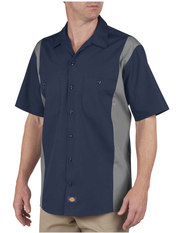 Industrial Colour Block Short Sleeve Shirt - Dark Navy Blue Gray Tone (DNSM)