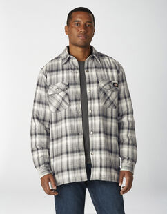 Sherpa Lined Flannel Shirt Jacket with Hydroshield - Charcoal Glacier Plaid (O2P)