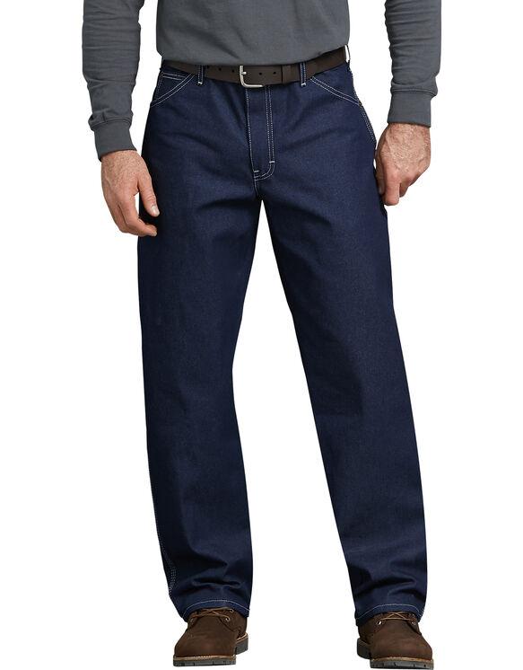 Jeans menuisier en denim, coupe décontractée à jambe droite - Bleu indigo (NB)