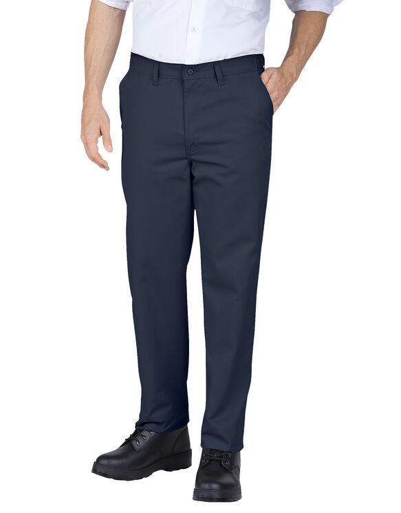 Pantalon de travail devant plat a taille confort avec poche polyvalente - marine foncé (DN)