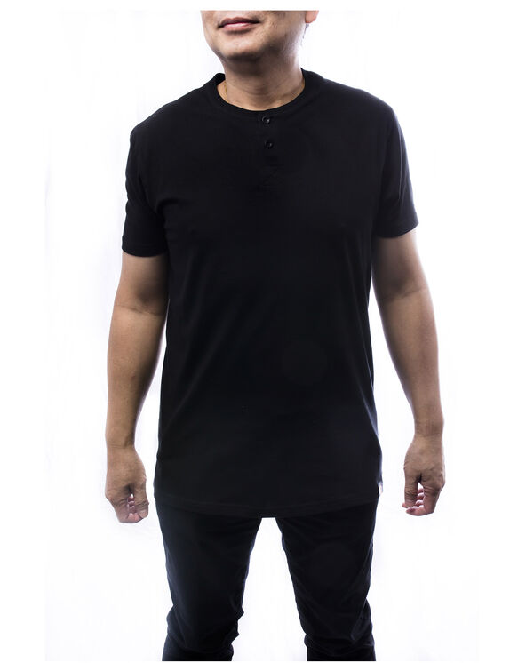 Men's Short Sleeve Henley Tee - Black (BK)