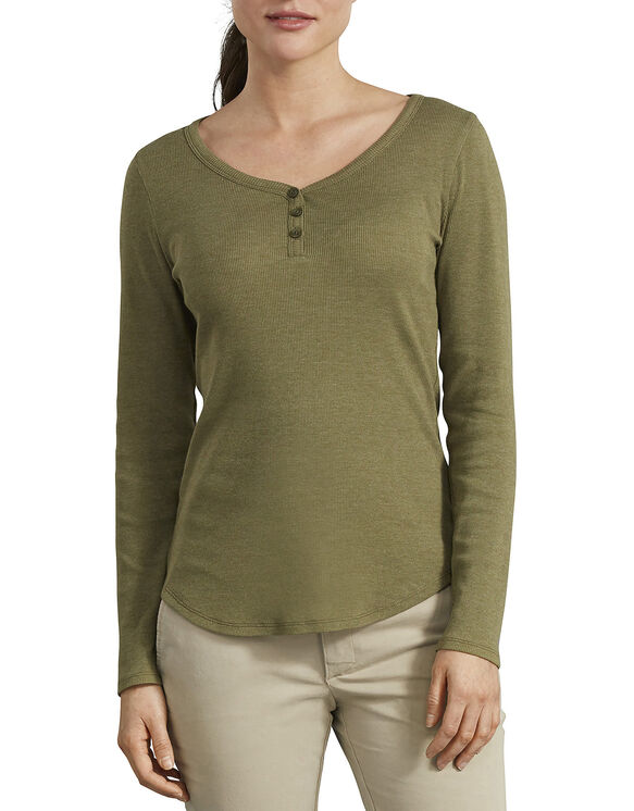 Women's Long Sleeve Henley Shirt - Olive (UOD)
