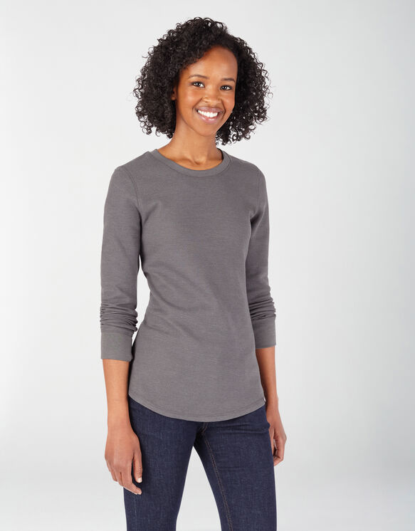 Women's Long Sleeve Crew Neck Thermal Shirt - Graphite Gray (GAD)