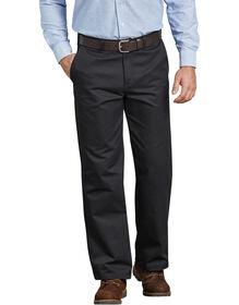 Pantalon en coton à devant plat - Noir (BK)