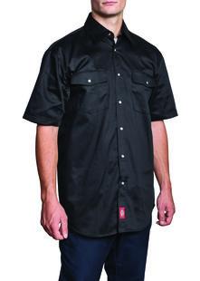Short Sleeve Snap Front Work Shirt - Black (BK)