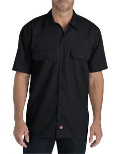 Flex Relaxed Fit Short Sleeve Twill Work Shirt - Black (BK)