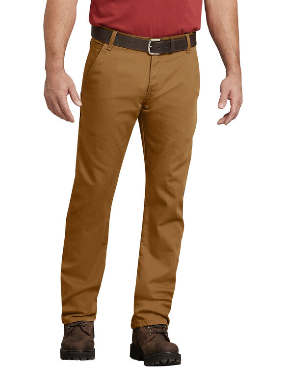 FLEX Regular Fit Straight Leg Tough Max™ Duck Carpenter Pant - STONEWASHED BROWN DUCK (SBD)