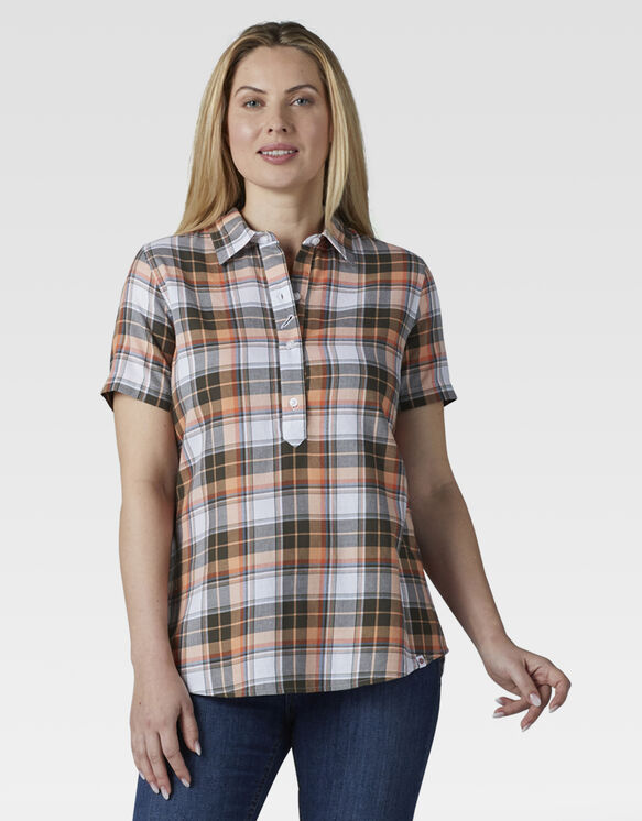 Women's Short Sleeve Woven Popover Shirt - Cantaloupe Thyme Plaid (UEP)