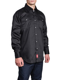 Long Sleeve Snap Front Work Shirt - BLACK (BK)