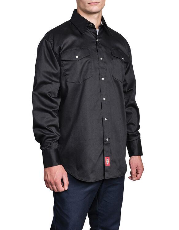 Chemise à manches longues avec fermeture à bouton  - Noir (BK)