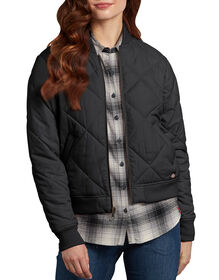 Women's Quilted Bomber Jacket - Black (BK)