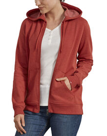 Women's Zip Front Hooded Jacket - Burnt Orange Heather (BRH)