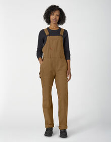 Women's Double Front Duck Bib Overalls - Brown Duck (RBD)