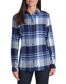 Women's Long Sleeve Plaid Shirt - White Blue Plaid (LQP)