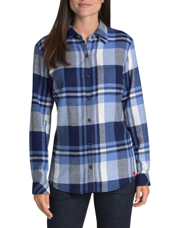 Women's Long Sleeve Plaid Flannel Shirt - White Blue Plaid (LQP)