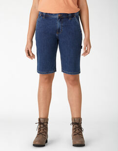 Women's Denim Carpenter Shorts - Stonewashed Dark Blue (DSW)